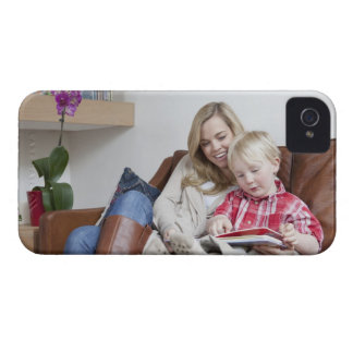 Mother and son sitting on sofa together iPhone 4 cases