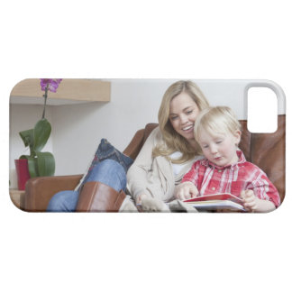 Mother and son sitting on sofa together iPhone 5 case