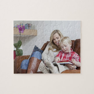 Mother and son sitting on sofa together jigsaw puzzle