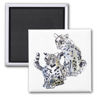 Mother and Son Square Magnet