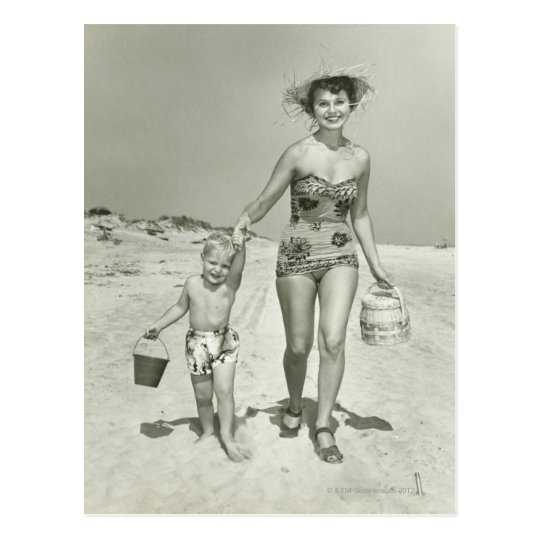 Mother and Son Walking Postcard