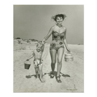Mother and Son Walking Poster