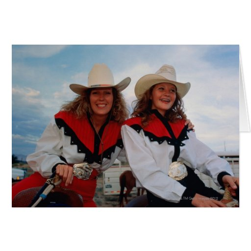 Mother and teenage daughter (14-16) at rodeo, greeting card