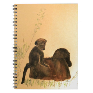 Mother & Baby Baboons - Wildlife Monkeys Primates Spiral Note Book