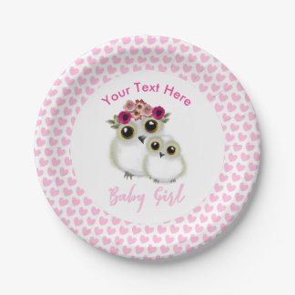 Mother Baby Cute Owl Baby Girl Shower Personalized Paper Plate