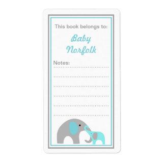 Mother & Baby Elephants Turquoise Bookplates