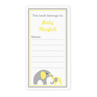 Mother & Baby Elephants Yellow Gray Bookplates Shipping Label