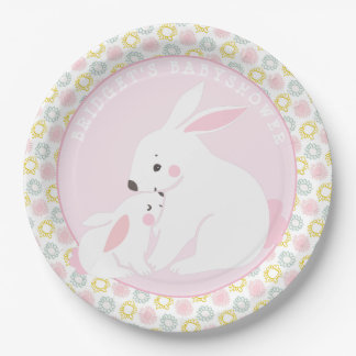 Mother & Baby Girl Bunny  Baby Shower Paper Plates