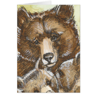 Mother Bear and Cubs Card