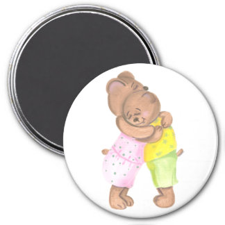 Mother Bear and Her Cub Hug 7.5 Cm Round Magnet