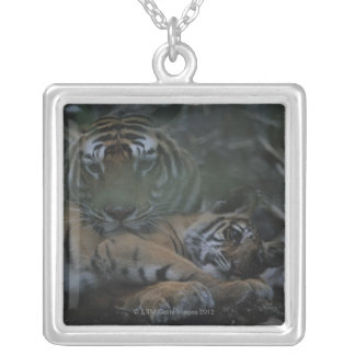 Mother Bengal Tiger with Cub Silver Plated Necklace