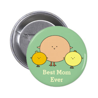 Mother Bird with Two Kids Pinback Button