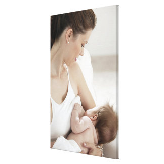 Mother breastfeeding baby 2 gallery wrapped canvas