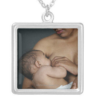 Mother breastfeeding baby boy (6-11 months) silver plated necklace