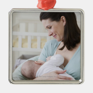 Mother breastfeeding baby Silver-Colored square decoration
