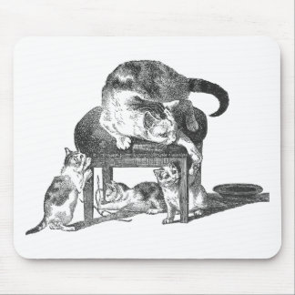Mother Cat and Her Playful Kittens Mouse Pad