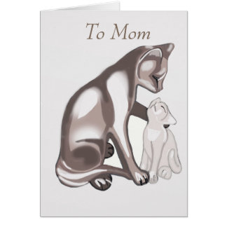 Mother cat and kitten card