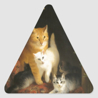 Mother cat and kittens painting triangle sticker