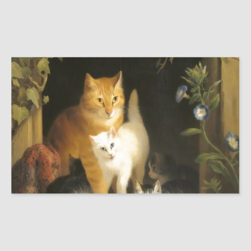 Mother cat and kittens painting stickers
