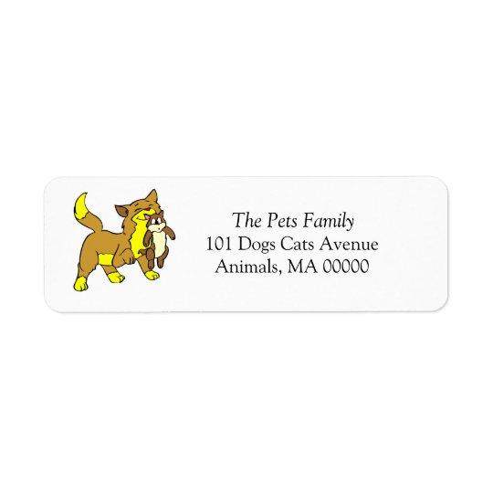 Mother Cat Kitten Return Address Labels Stickers