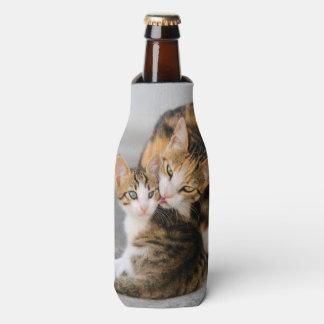 Mother Cat Loves Cute Baby Kitten Animal Photo --- Bottle Cooler