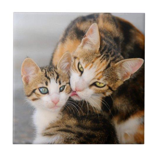 Mother Cat Loves Cute Kitten, Ceramic Tile
