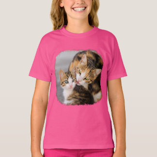 Mother Cat Loves Cute Kitten Photo - pink girl T-Shirt