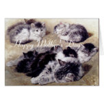 MOTHER CAT WITH KITTENS / Mother's Day Roses Greeting Card
