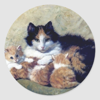 Mother Cat with Kittens painting Round Stickers