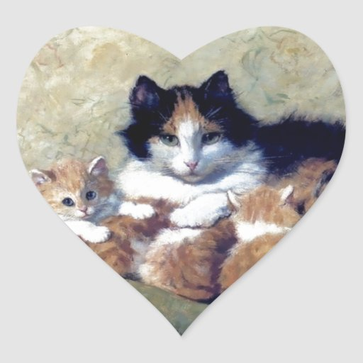 Mother Cat with Kittens painting Heart Sticker