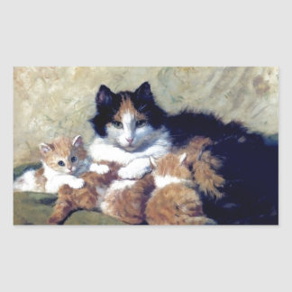Mother Cat with Kittens painting Rectangular Sticker