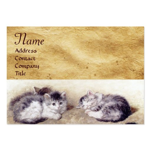 MOTHER CAT WITH KITTENS Parchment Monogram