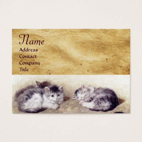 MOTHER CAT WITH KITTENS Parchment Monogram Business Card