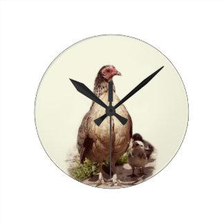 Mother Chicken and Baby Chickens Round Clock