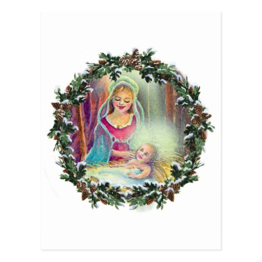 MOTHER & CHILD in WREATH by SHARON SHARPE Post Card