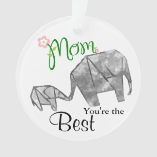 Mother & Child Origami Elephant with Text & Photo Ornament