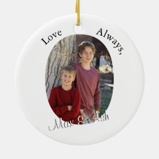 Mother & Child with Custom Text & Oval Photo Frame Round Ceramic Decoration