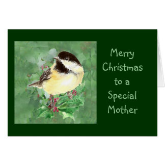 Mother  Christmas Chickadee Bird Holly Nature Art Card