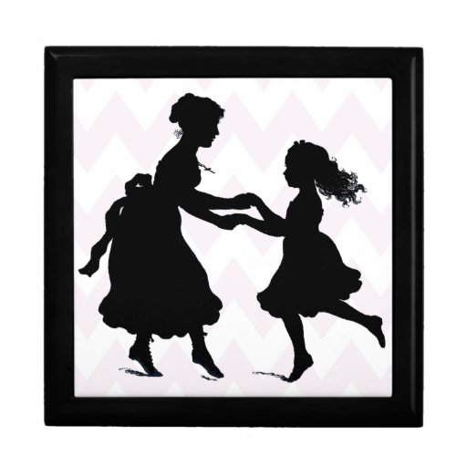 Mother & Daughter Holding Hands Dancing Gift Boxes
