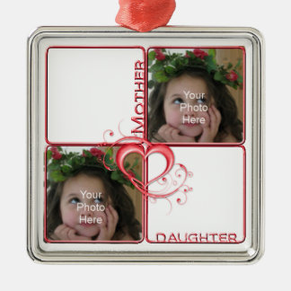 Mother Daughter Photo Premium Square Ornament
