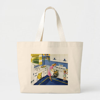 Mother/Daughter Retro Kitchen #2 Large Tote Bag