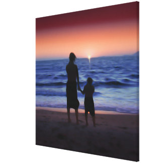 Mother Daughter Sunset Stretched Canvas Prints