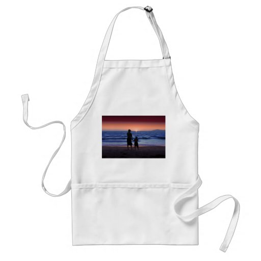 Mother & Daughter Walk on the Beach Apron