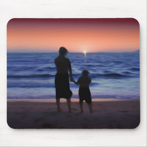 Mother & Daughter Walk on the Beach (Mother's Day) Mousepads