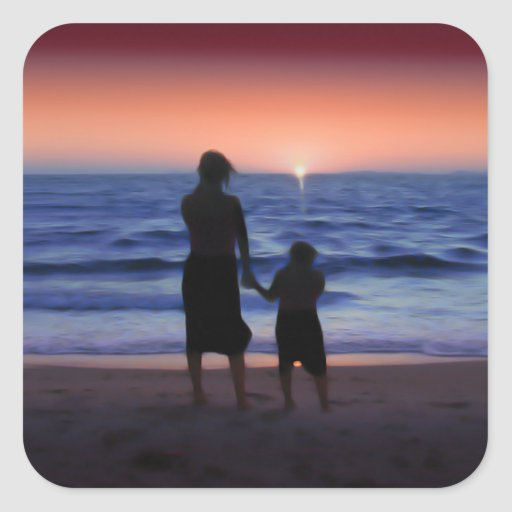 Mother & Daughter Walk on the Beach (Mother's Day) Sticker