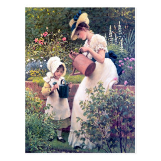 Mother Daughter Watering flowers painting Postcard