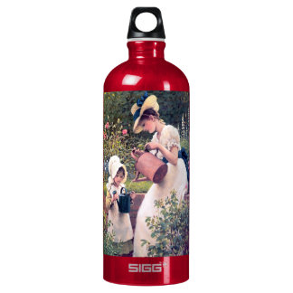 Mother Daughter Watering flowers painting Water Bottle