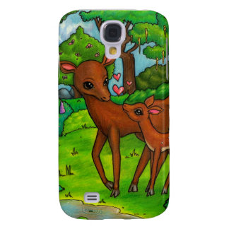 Mother deer and baby Fawn Galaxy S4 Case