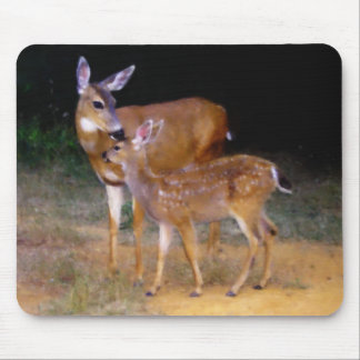 Mother Deer with Fawn Mouse Mat