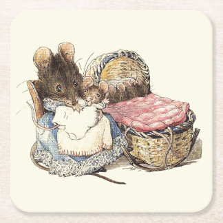 Mother Dormouse and her Child Square Paper Coaster